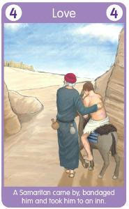 good Samaritan carries him on his donkey