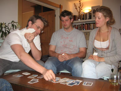 Christian young adults play Bible card games