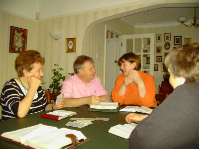 Bible study group with Bible  games