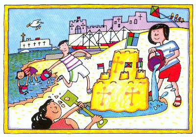 Seaside Rock Postcard Image