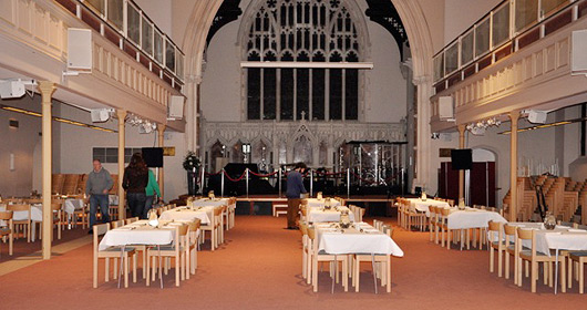 Church hall set up