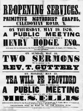 Poster announcing the opening of the Chapel in 1870