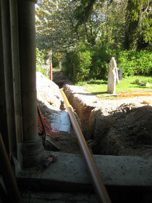 Sewage pipe being installed