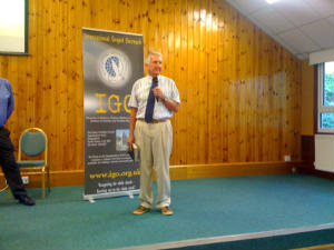 Pastor Victor speaking at the International Gospel Outreach conference at Swanwick in England.