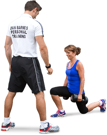 Dan training lady with weights