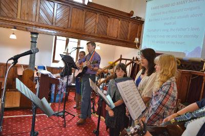 Worship Group leading the Sunday Service