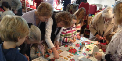 Children making gingerbread at Funday Sunday