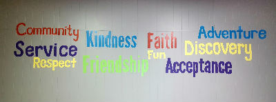 Picture of the wall on the youth group