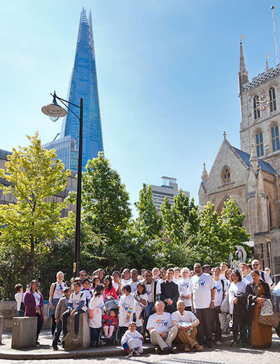 Group in front of Shard building