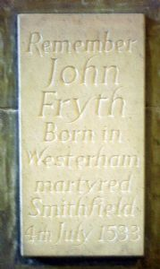 John Fryth Plaque