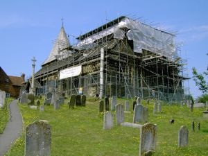 The church roof being repaired