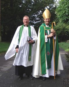Rt Rev Nigel Stock, the former Bishop of Stockport with our previous Vicar, Revd. Dr Gary Bowness.