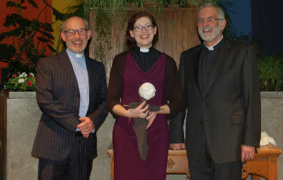 Our two ministers and the President of BUGB, at Beths ordination service in November 2014