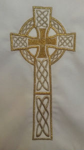 Embroidered cross on altar cloth