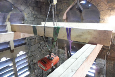 Timbers installed to support bell lifting gear