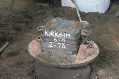 Bell cast labelled Kirkham 6th 2-71/2