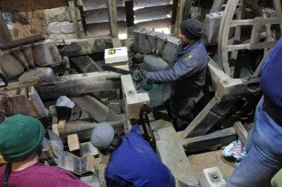 Bell frame being cut away