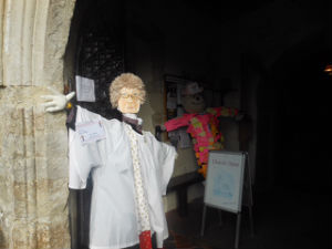 A photo of a scarecrow made for Millie