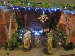Crib in front of the altar