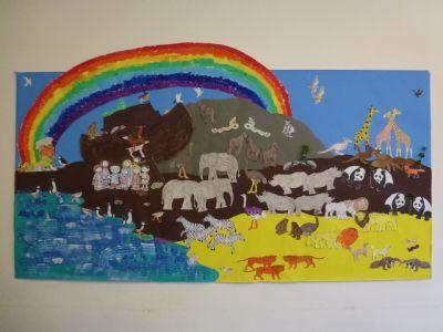 Noah painting made at messy church
