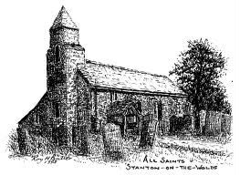 Sketch of All Saints church, Stanton