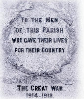 Copy of memorial plaque To the men of this parish who gave their lives for their country - The Great War 1914-1918