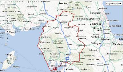 Map of Cumbria Methodist District