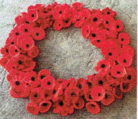 Knitted Poppies in Remembrance