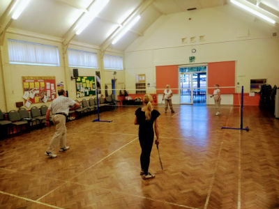 Sports night badminton in main hall