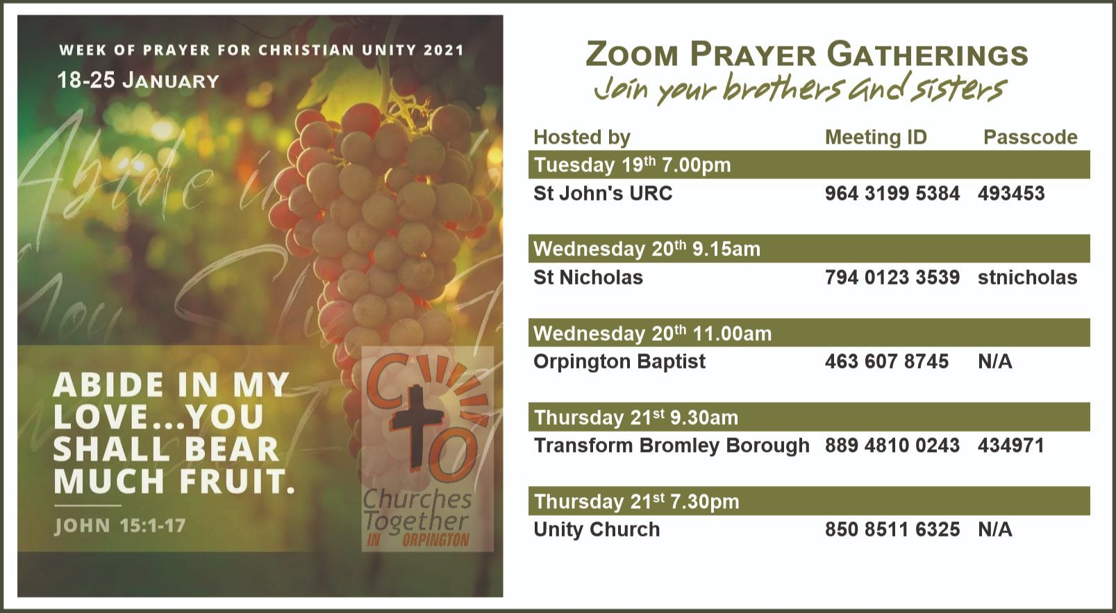 Prayers For Christian Unity - Jan 21