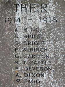 Henry Brice Oct 1918 War memorial