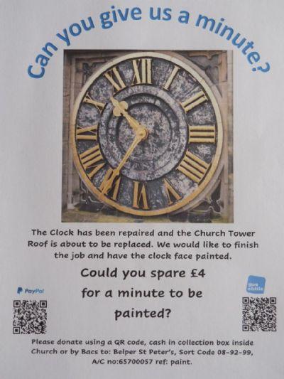 St Peters clock repaint 2021