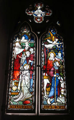 Window Jesus in temple and flight to Egypt
