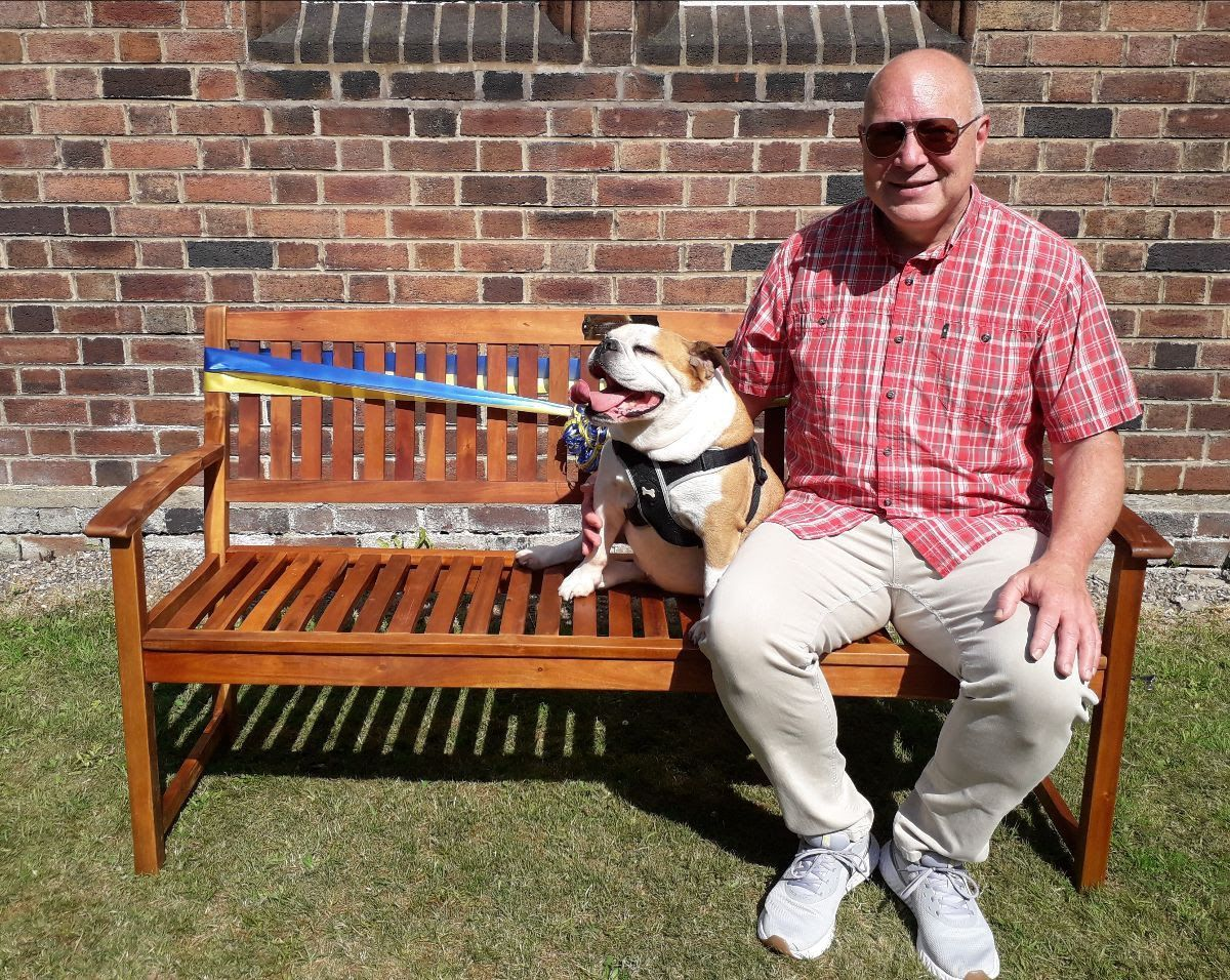 Tim and Winnie on the bench