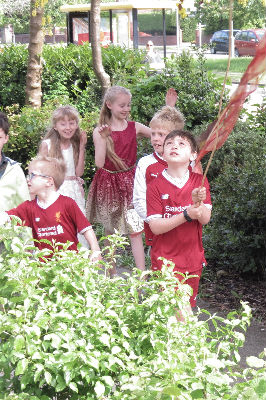 Children parading to church