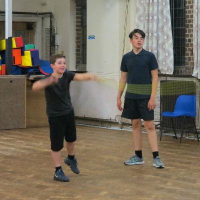 Practising rope-throwing