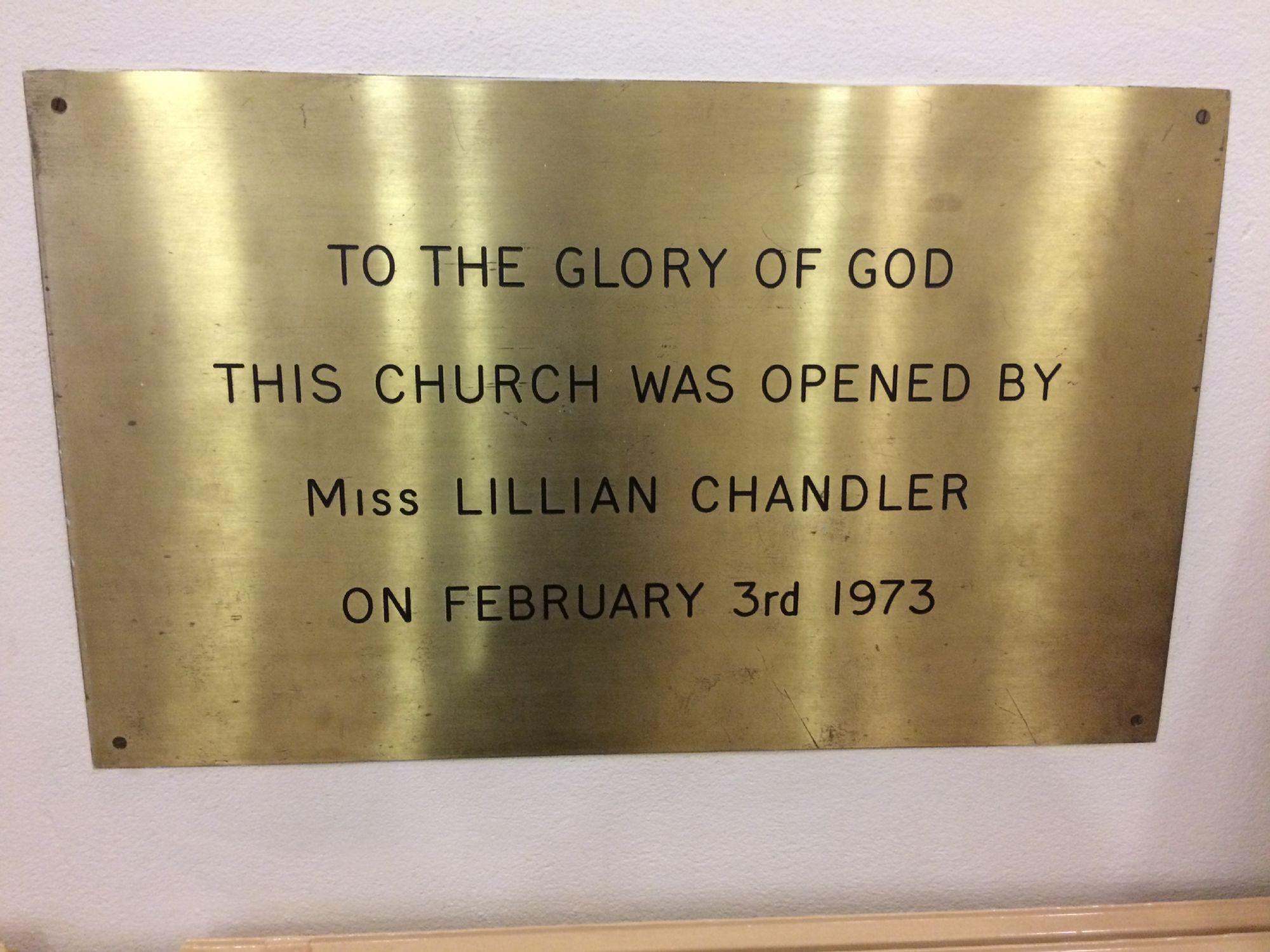 brass plate inside church