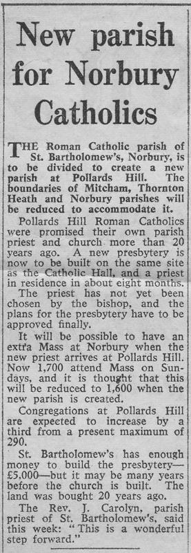 Announcement of new parish from the Croydon Advertiser 1963