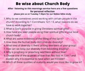 be wise about the church body