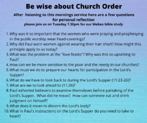 be wise about church order