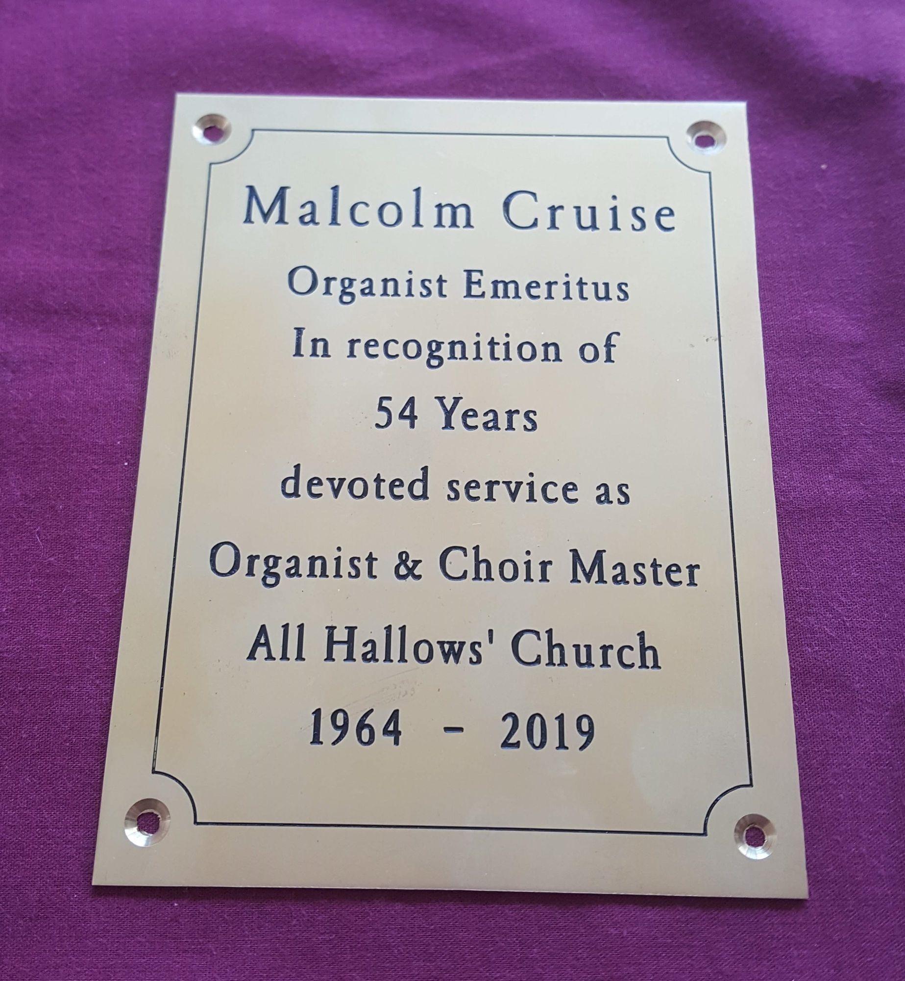 Malcolm Cruise Plaque