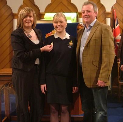 Lauren Hamilton getting her Queen's Award and her Brigader Brooch