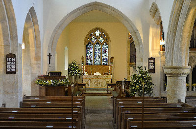 Interior of St Lawrence Bourton on the Hill