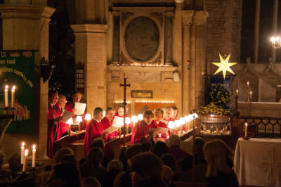 The church choir singing at Midnight Mass