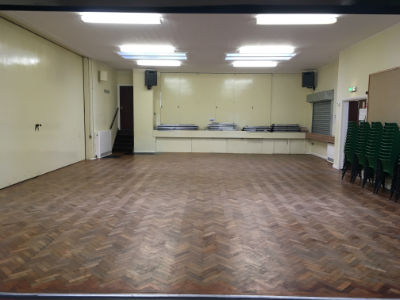 Main hall from folding doors