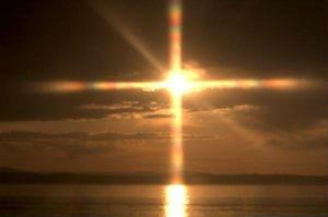Sun shining as a cross