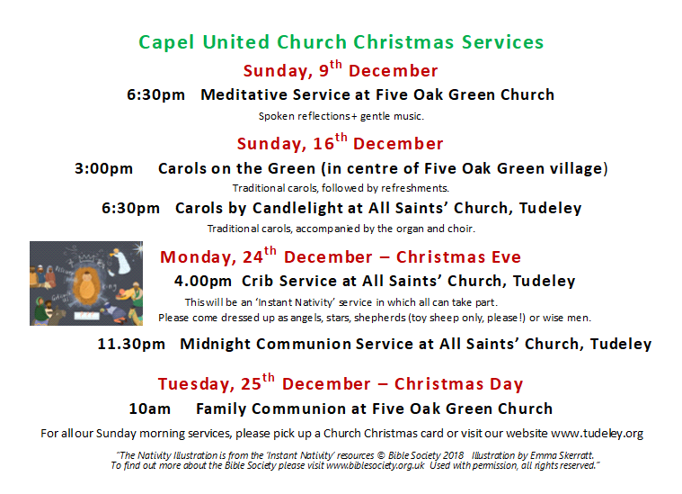 details of Christmas Services