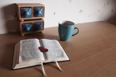 bible and coffee mug