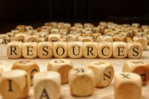 Resources - word spelled on wooden blocks
