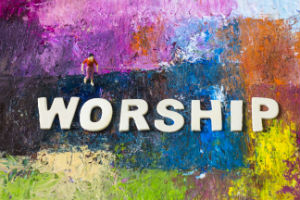 The Word Worship on a multicoloured background